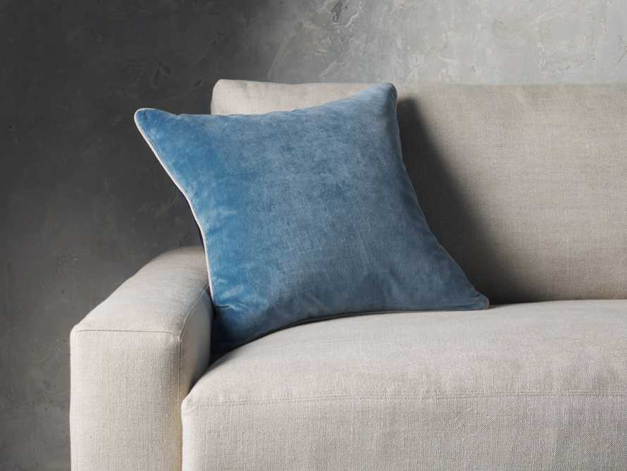 Reversible Velvet Pillow in Blue, slide 1 of 7