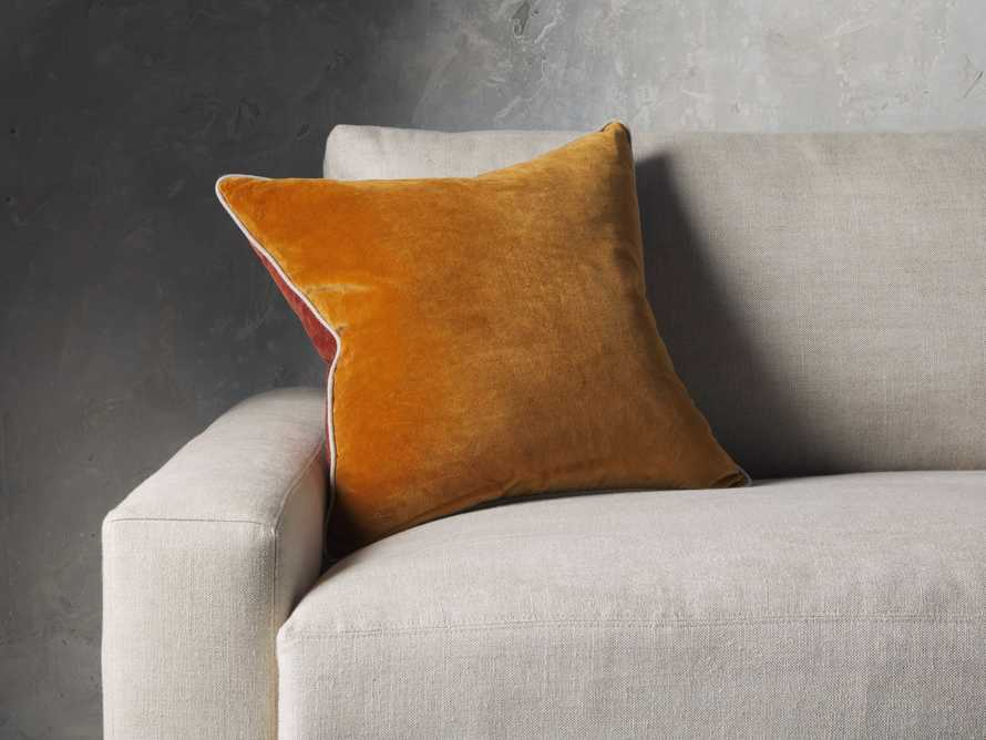 Reversible Velvet Pillow in Terracotta, slide 1 of 4