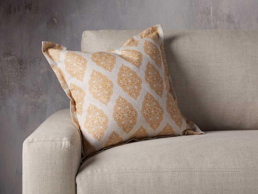 Sadie Block Print Pillow in Dijon, slide 1 of 5