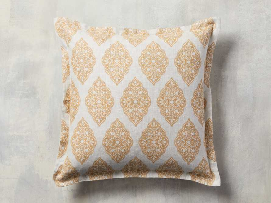 Sadie Block Print Pillow in Dijon, slide 2 of 5