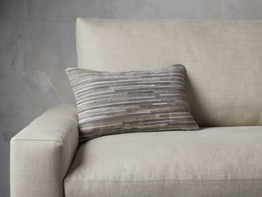 STRIPE HIDE  LUMBAR  PILLOW COVER IN GREY, slide 2 of 4