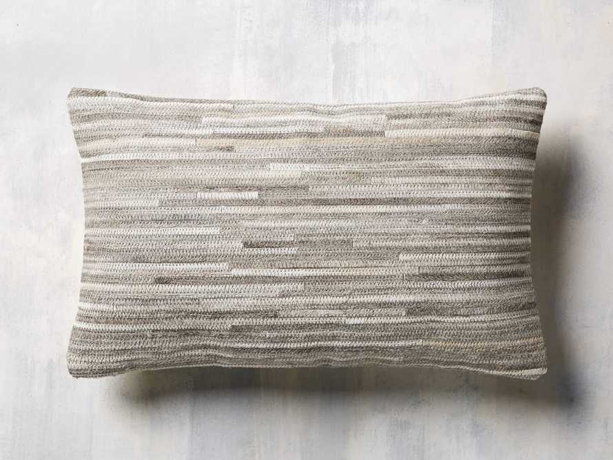 STRIPE HIDE  LUMBAR  PILLOW COVER IN GREY, slide 1 of 4