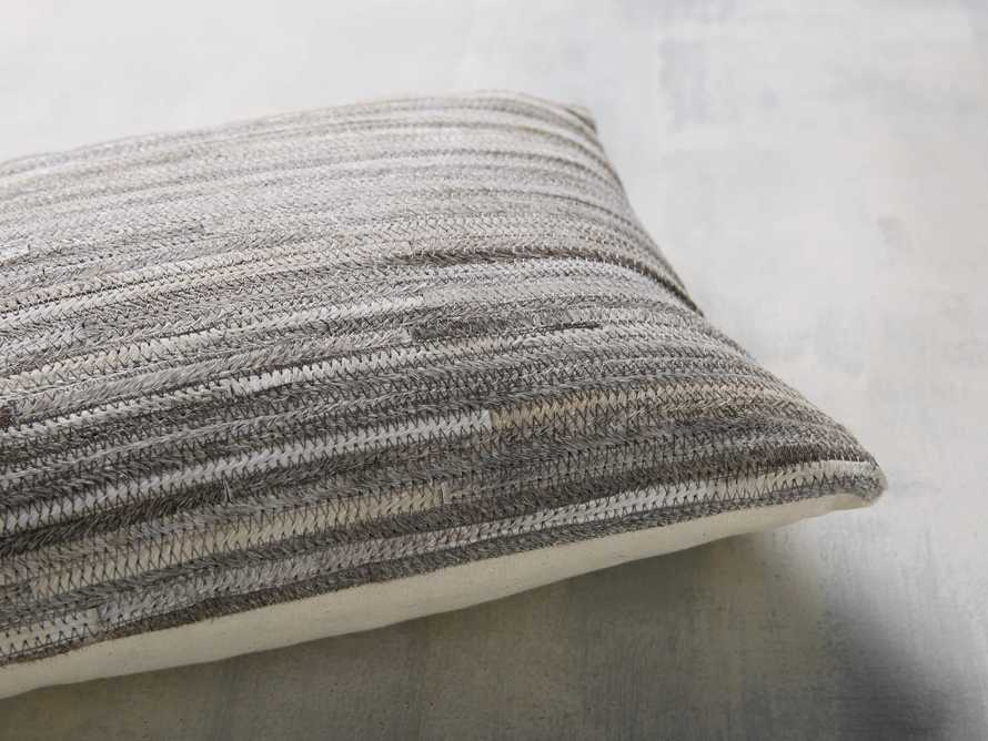 STRIPE HIDE  LUMBAR  PILLOW COVER IN GREY, slide 4 of 4