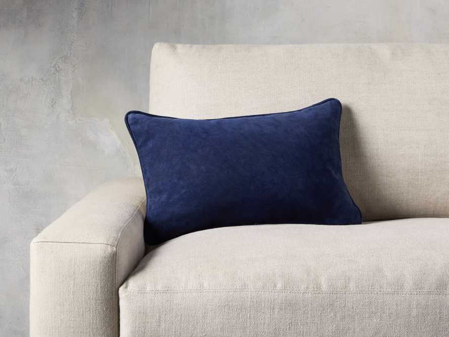 SUEDE LUMBAR PILLOW COVER IN BLUE, slide 4 of 4