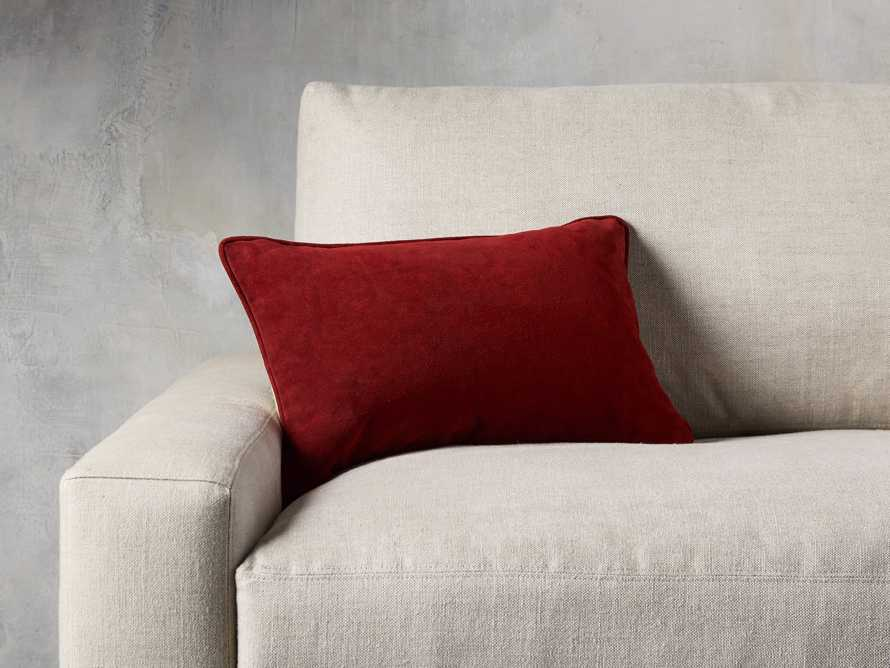 Suede Lumbar Pillow in Red, slide 1 of 4