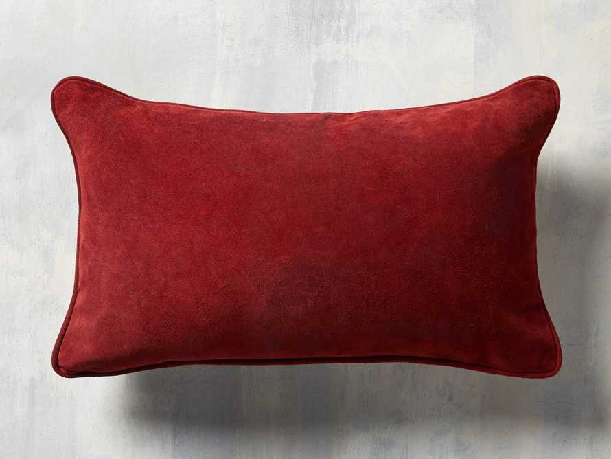 Suede Lumbar Pillow in Red, slide 3 of 4