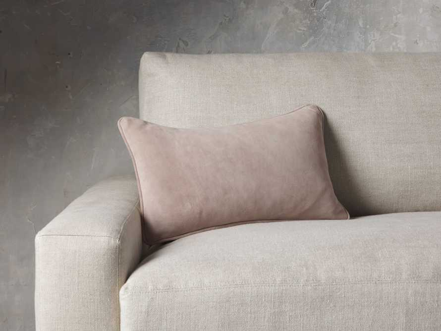 Suede Lumbar Pillow in Rose, slide 1 of 7