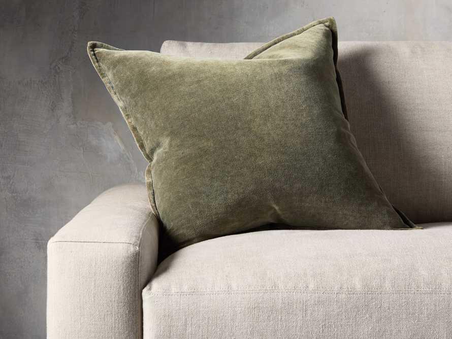 Stone Washed Velvet Basil Square Pillow, slide 1 of 5