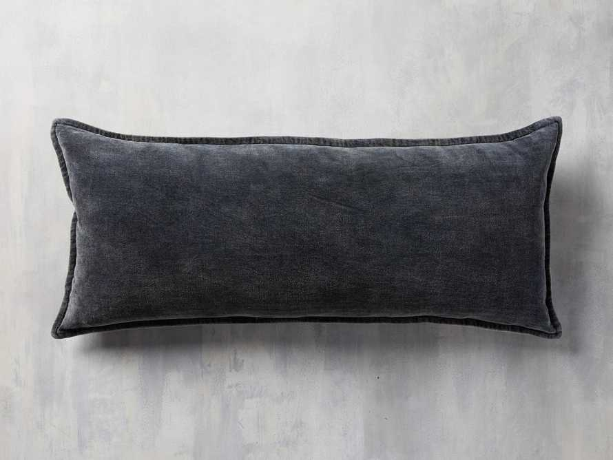 Stone Washed Velvet Oversized Lumbar Pillow in Indigo