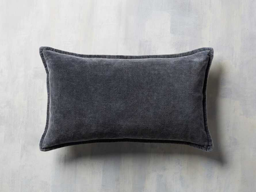 Stone Washed Velvet Lumbar Pillow in Indigo