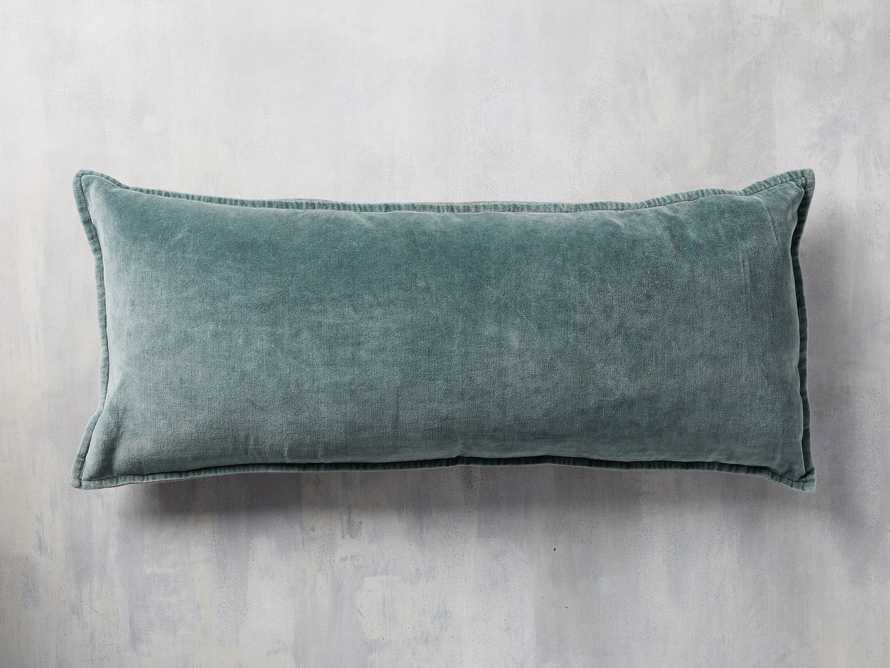 Stone Washed Velvet Oversized Lumbar Pillow in Jade