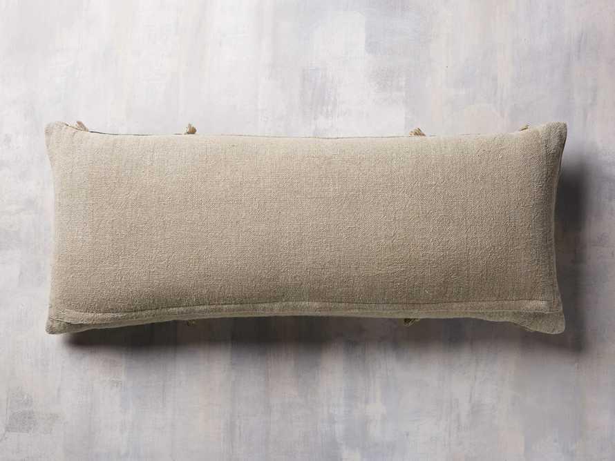 Velvet and Linen Fringed Lumbar Pillow