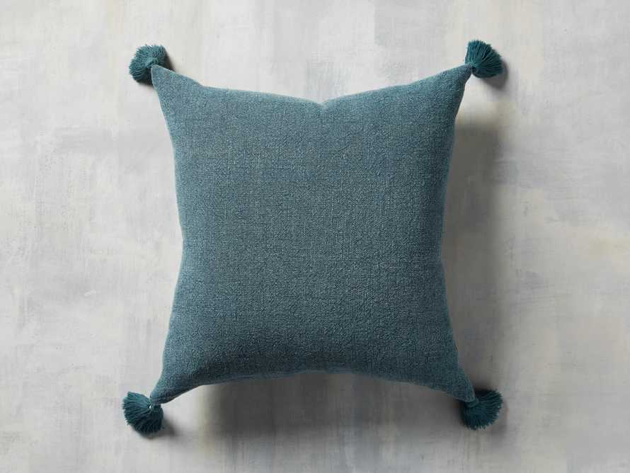 STONE WASHED LINEN SQUARE PILLOW COVER IN BASIL, slide 1 of 3