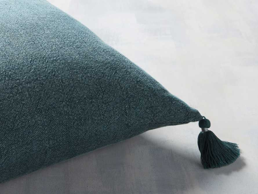 STONE WASHED LINEN SQUARE PILLOW COVER IN BASIL, slide 2 of 3