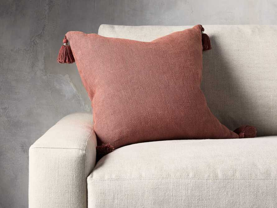 STONE WASHED LINEN SQUARE PILLOW COVER IN ROSE, slide 3 of 3
