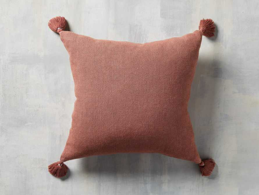 STONE WASHED LINEN SQUARE PILLOW COVER IN ROSE, slide 1 of 3