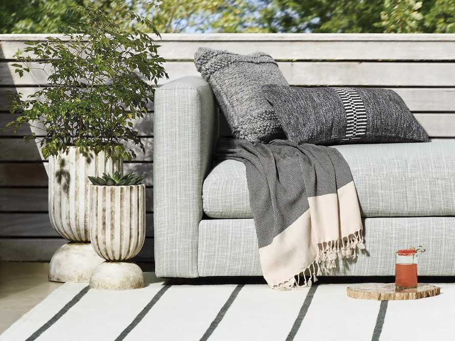 Tannager Stripe Outdoor Pillow in Grey, slide 3 of 5