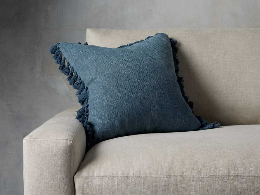 Tasseled Linen Pillow in Indigo
