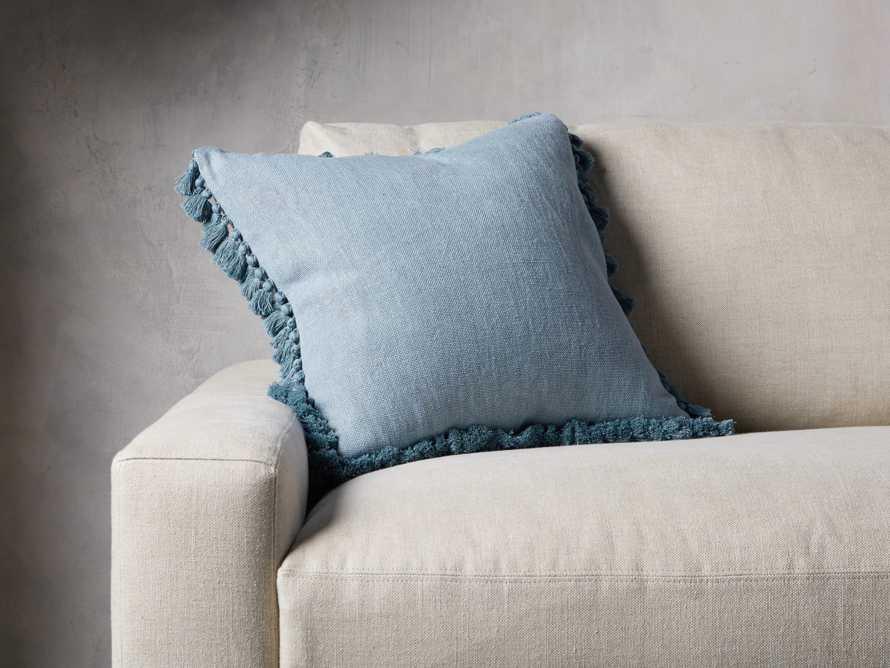 Tasseled Linen Pillow in Light Blue