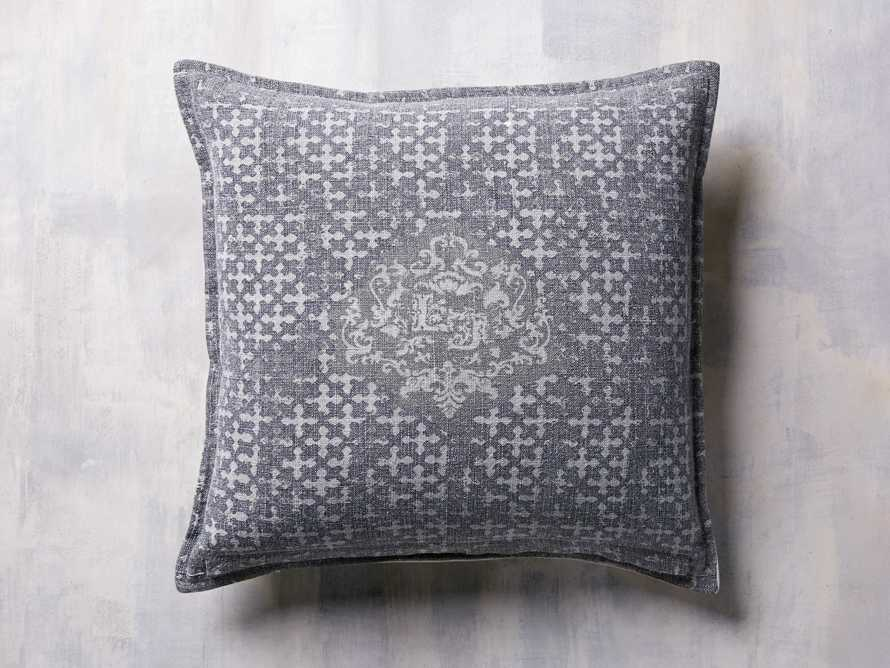 STONE WASHED VELVET PRINTED PILLOW COVER IN GREY, slide 1 of 4