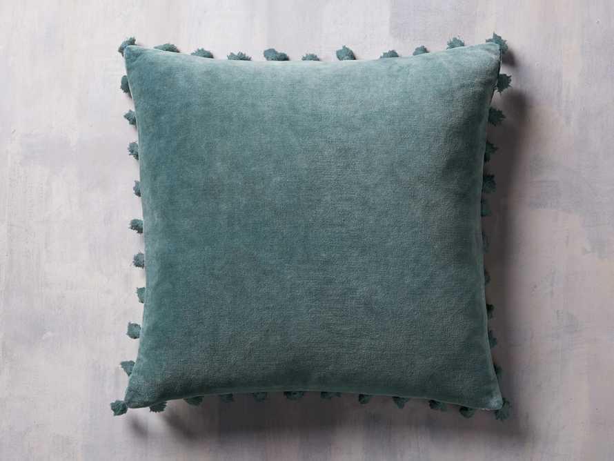 Velvet Print Tassel Pillow in Jade