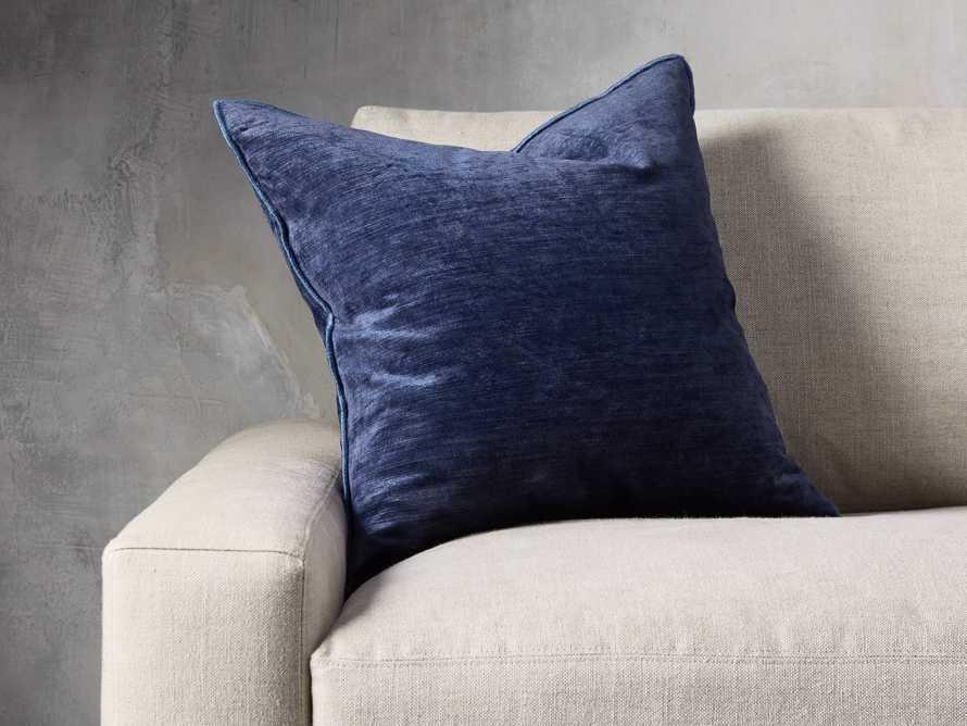 Velvet Hemstitch Blue Square Pillow, slide 1 of 3