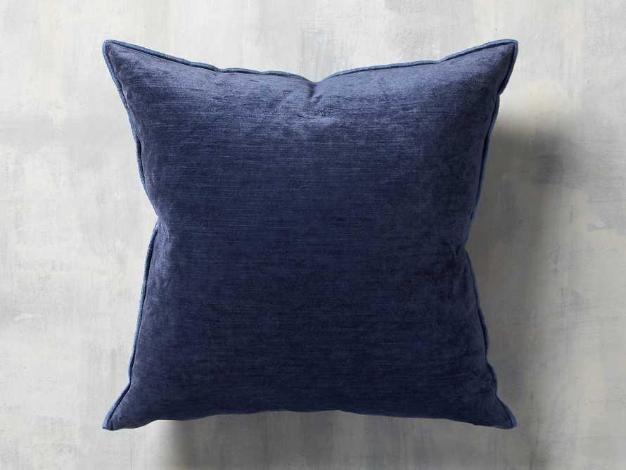 Velvet Hemstitch Blue Square Pillow, slide 3 of 3