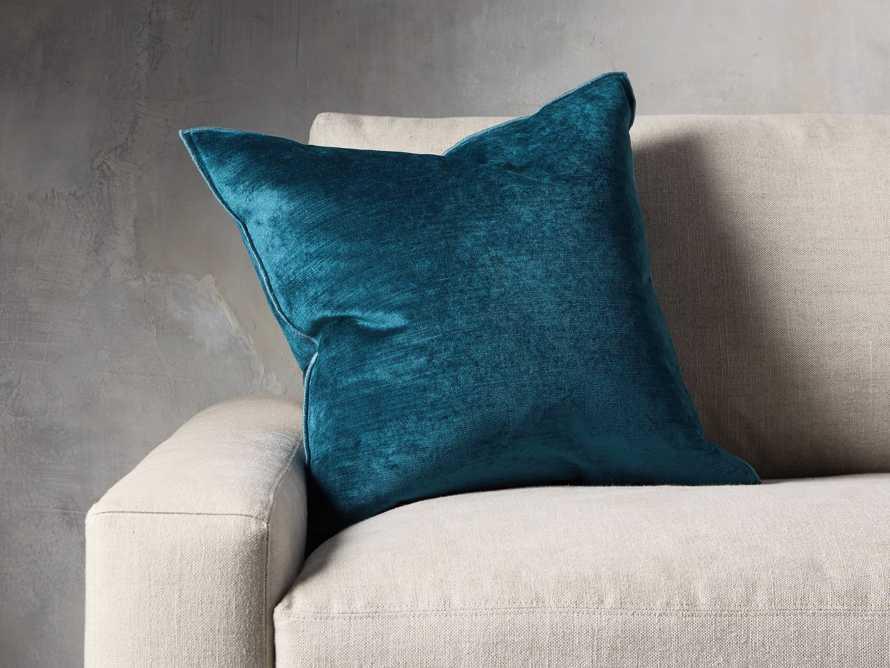 Velvet Hemstitch Jade Square Pillow, slide 1 of 5
