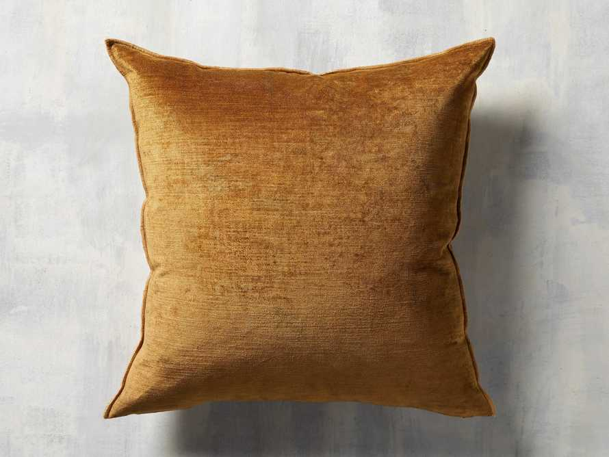 Velvet Hemstitch Mustard Square Pillow, slide 3 of 3