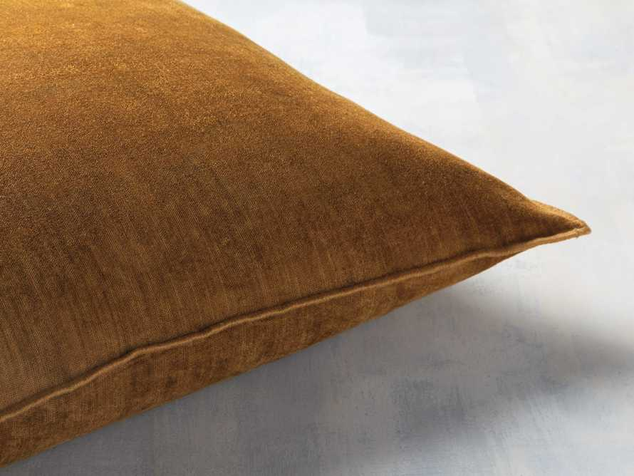 Velvet Hemstitch Mustard Square Pillow, slide 2 of 3