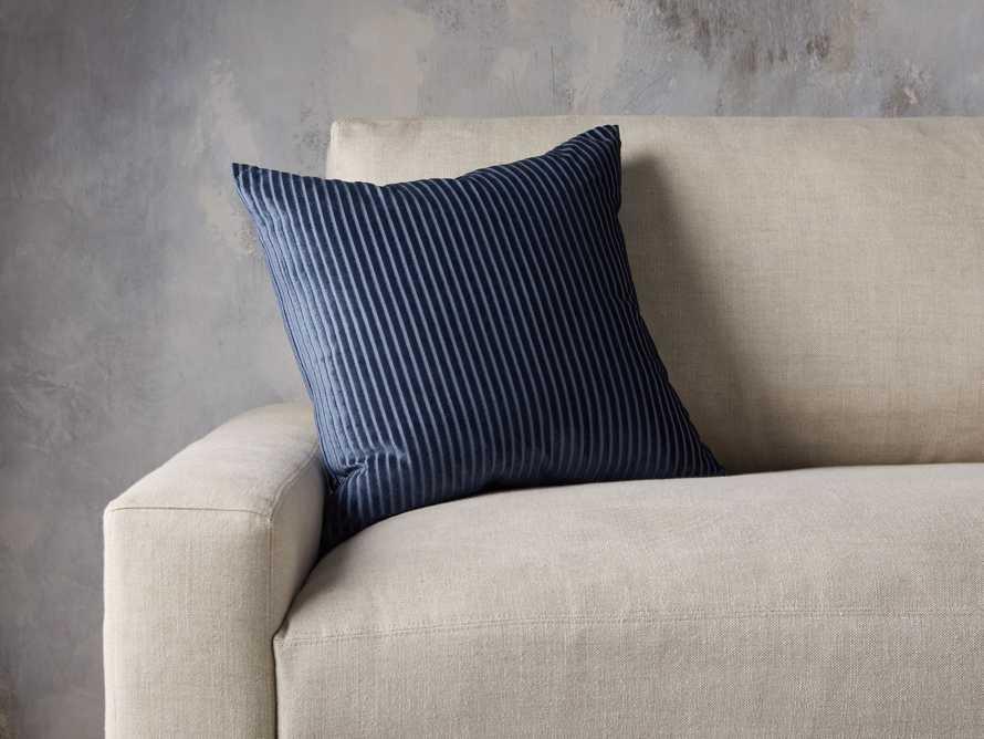 Velvet Wide-Stripe Pillow Cover Indigo, slide 3 of 4