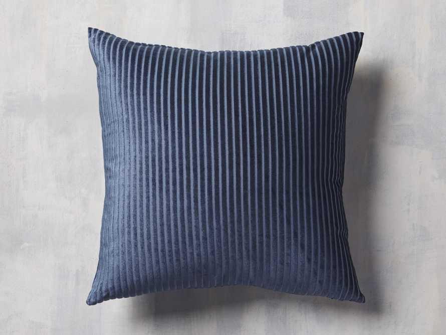 Velvet Wide-Stripe Pillow Cover Indigo, slide 1 of 4