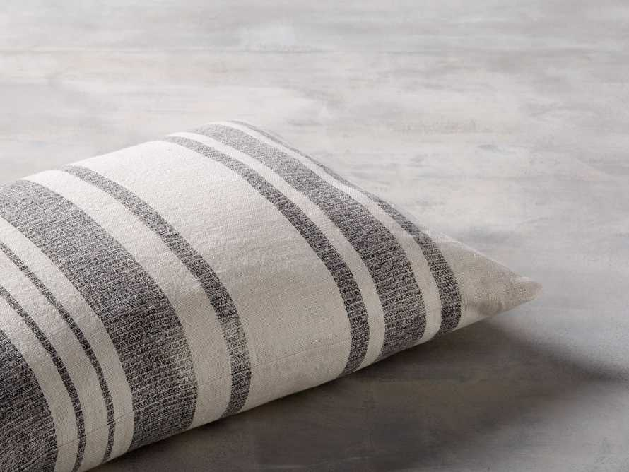 """French Stripe 24"""" Lumbar Pillow in White and Charcoal"""