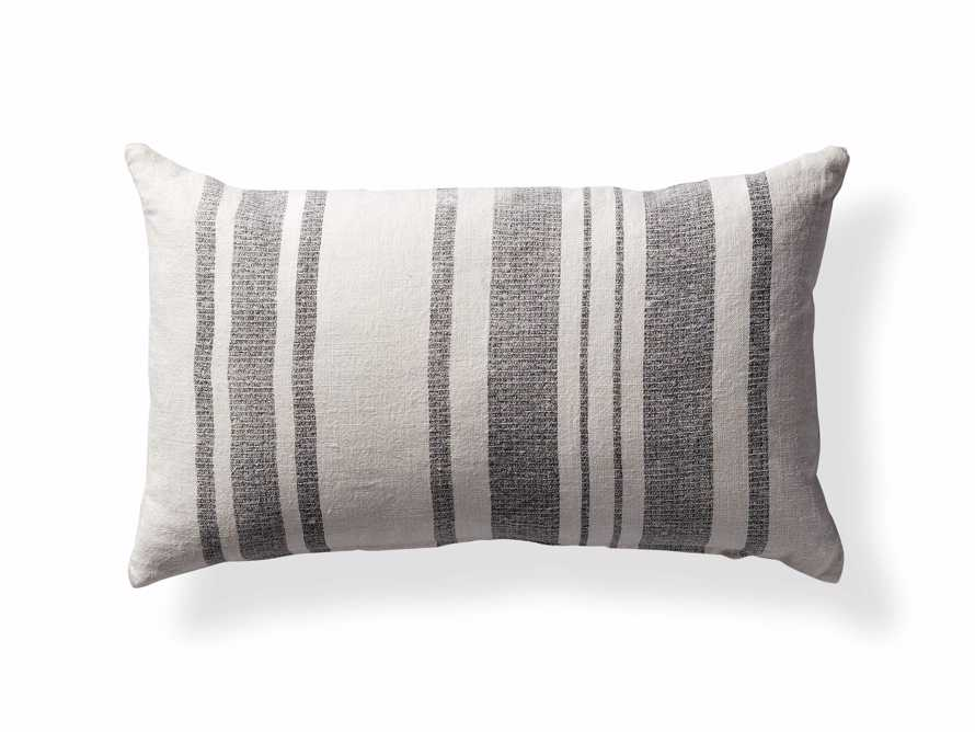 "French Stripe 24"" Lumbar Pillow in White and Charcoal - Come take a peek at more Arhaus French Vintage Timeless Furniture, Decor and Lighting on Hello Lovely Studio."