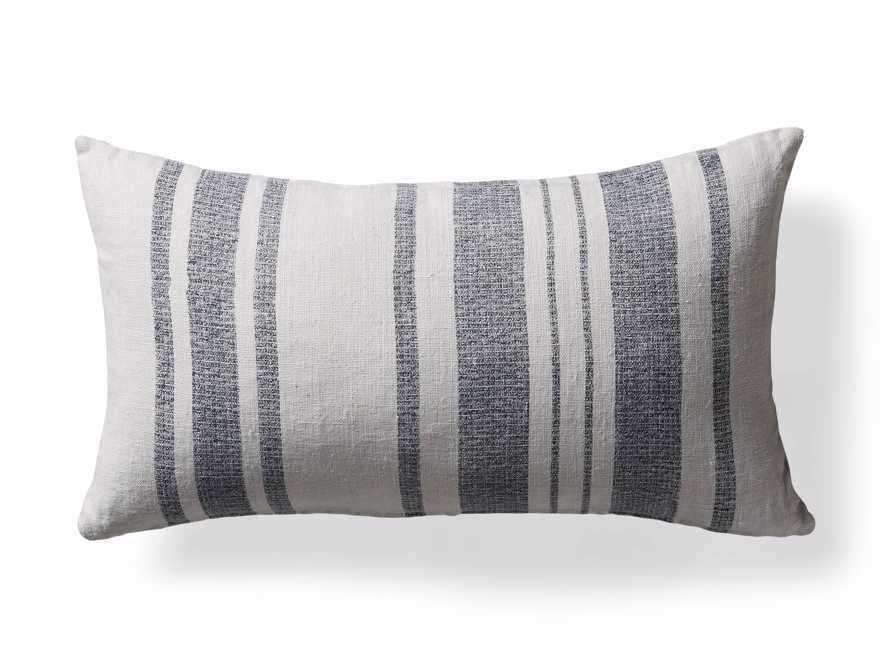French Striped Lumbar Pillow in White and Navy