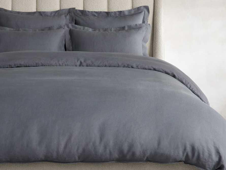 Washed Italian Linen Queen Duvet in Charcoal, slide 1 of 6