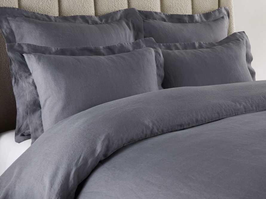Washed Italian Linen Queen Duvet in Charcoal, slide 3 of 6