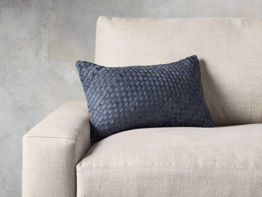 WOVEN HIDE LUMBAR PILLOW COVER IN BLUE, slide 4 of 4