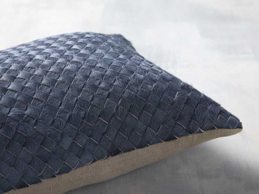 WOVEN HIDE LUMBAR PILLOW COVER IN BLUE, slide 3 of 4