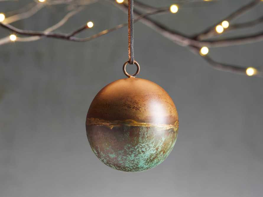Distressed Metal Ornament in Green Rust (Set of 4), slide 1 of 2