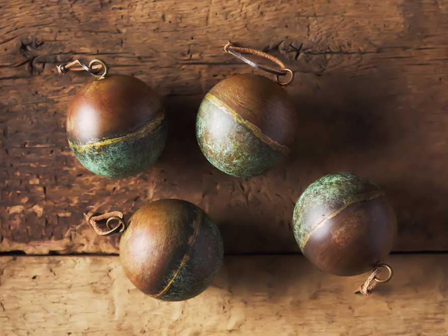 Distressed Metal Ornament in Green Rust (Set of 4), slide 2 of 2