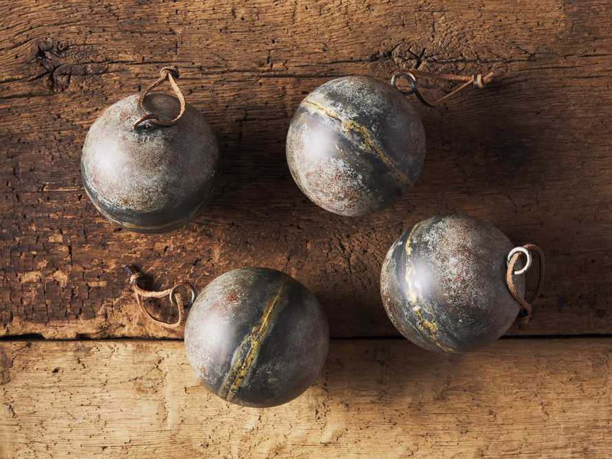 Distresse Metal Ornament in Grey (Set of 4), slide 2 of 2