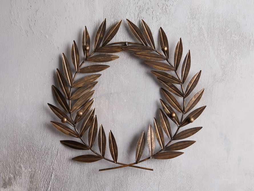 Laurel Metal Wreath in Distressed Brass, slide 1 of 4