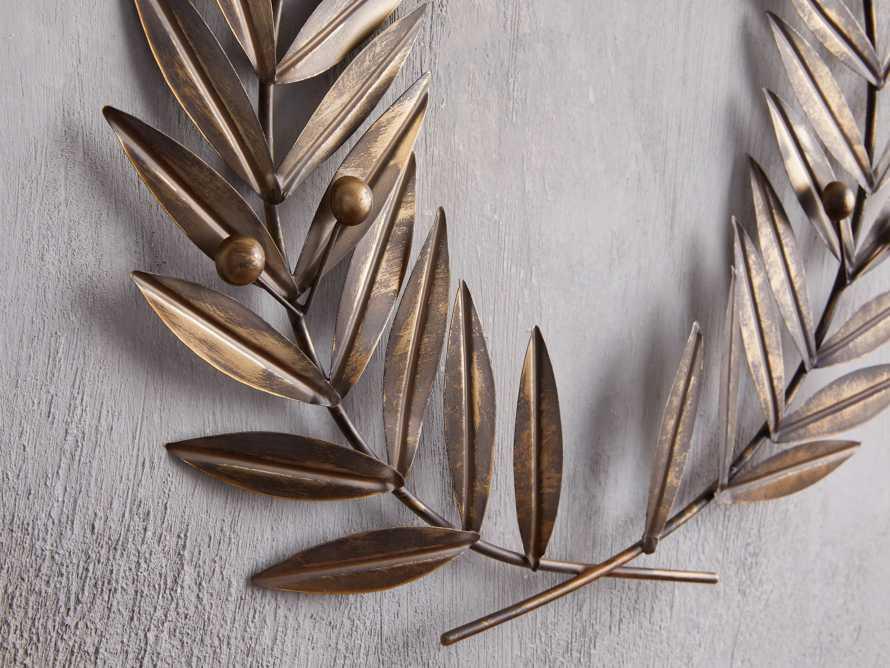 Laurel Metal Wreath in Distressed Brass, slide 2 of 4