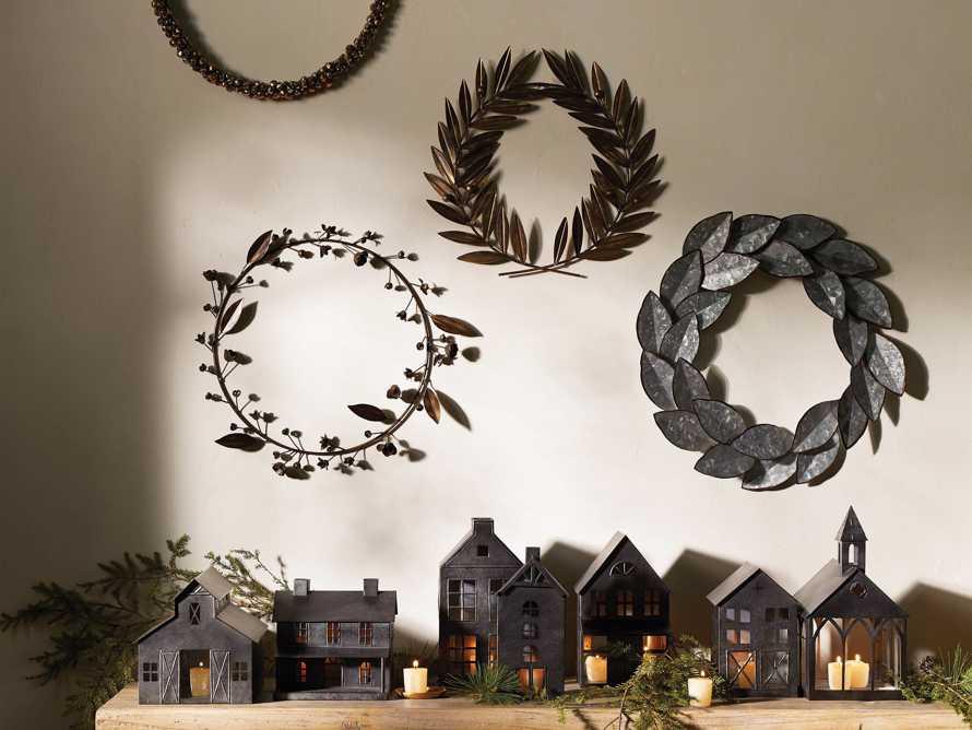 Laurel Metal Wreath in Distressed Brass, slide 3 of 4