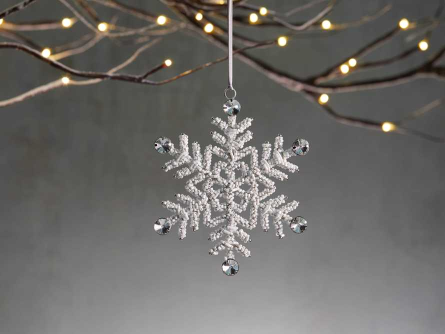 Small Beaded Snowflake Ornament (Set of 4), slide 1 of 5