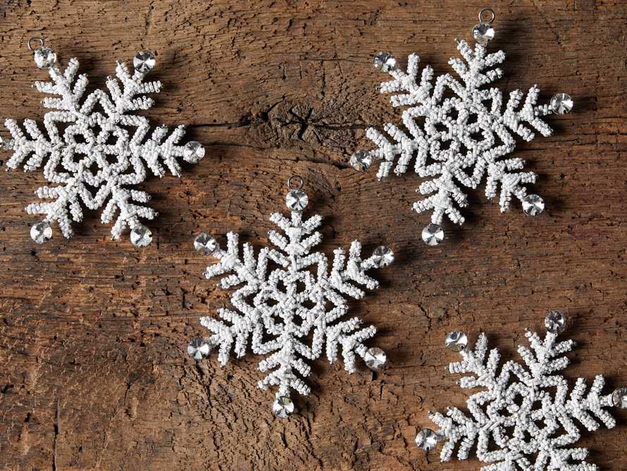 Small Beaded Snowflake Ornament (Set of 4), slide 3 of 5