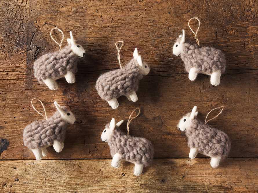 Grey Wool Sheep Ornament (Set of 6), slide 2 of 2