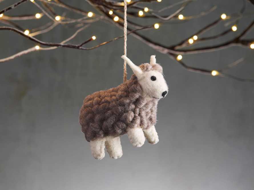 Grey Wool Sheep Ornament (Set of 6), slide 1 of 2
