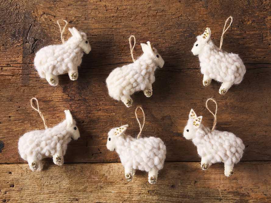 Ivory Wool Sheep Ornament (Set of 6), slide 2 of 2